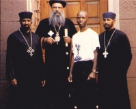 Nijel with His Holiness Abune Mathias and Ethiopian  monks