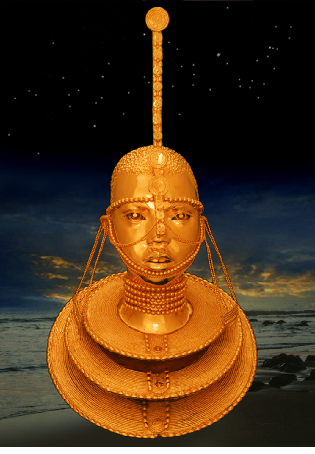 Maasai Princess bronze gold plated