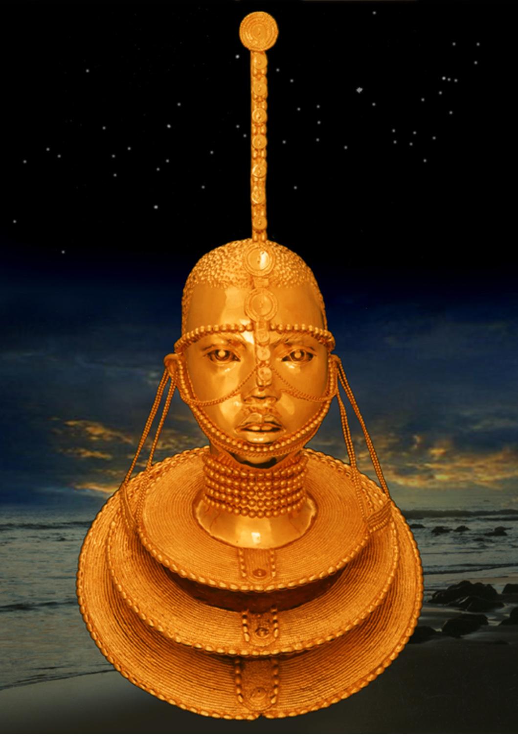 Maasai Princess bronze gold plated